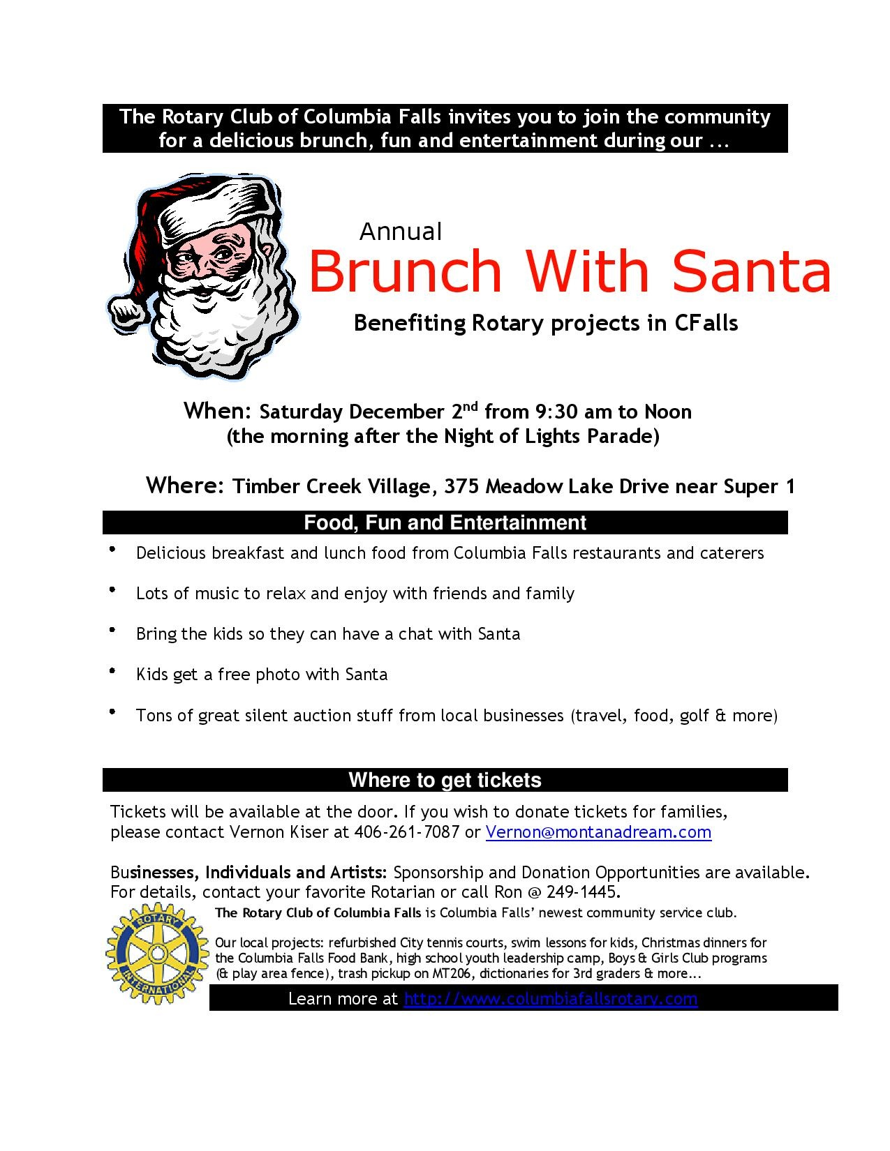 Brunch with Santa - Columbia Falls Area Chamber of Commerce
