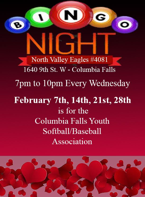Bingo Night at the Eagles every Wednesday