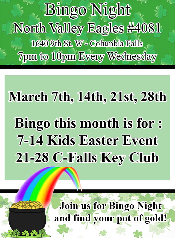 March Bingo at the Eagles