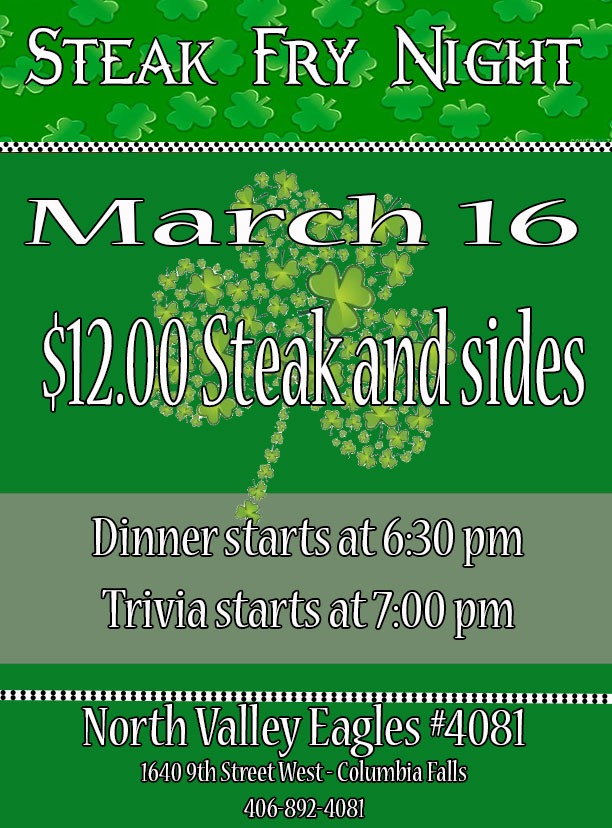 March Steak Fry Night
