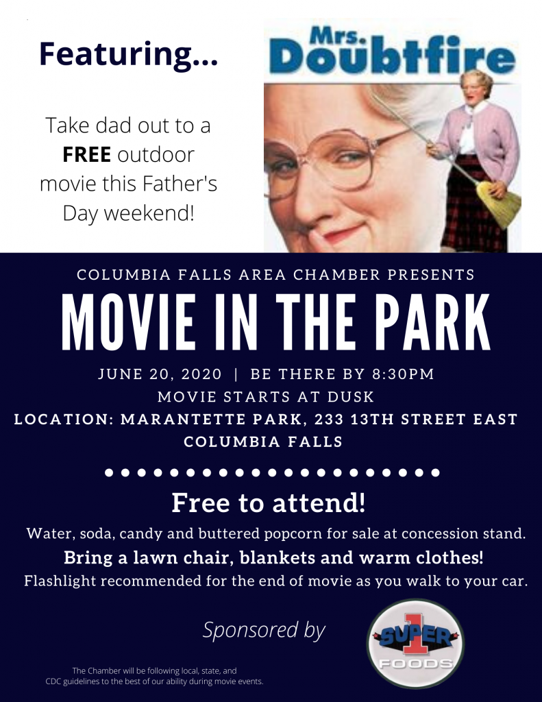 Movie in the Park - Mrs. Doubtfire Event Flyer